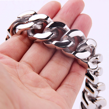 Strong Heavy Jewelry 316L Stainless Steel Silver Polished Cuban Curb Chain Mens Bracelet Bangle High Quality Male Wristband high polished 6 number spring chain bracelet
