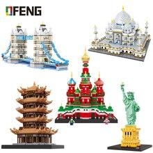 مدينة العمارة المتوافقة كتل بناء صغيرة العالم الشهير نموذج معماري تمثال الحرية جمع لعب هدايا الأطفال