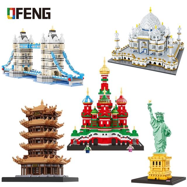 Cityเข้ากันได้กับสถาปัตยกรรมMini Building Blocks Worldที่มีชื่อเสียงสถาปัตยกรรมรูปปั้นLibertyของเล่นเด็กของขวัญ
