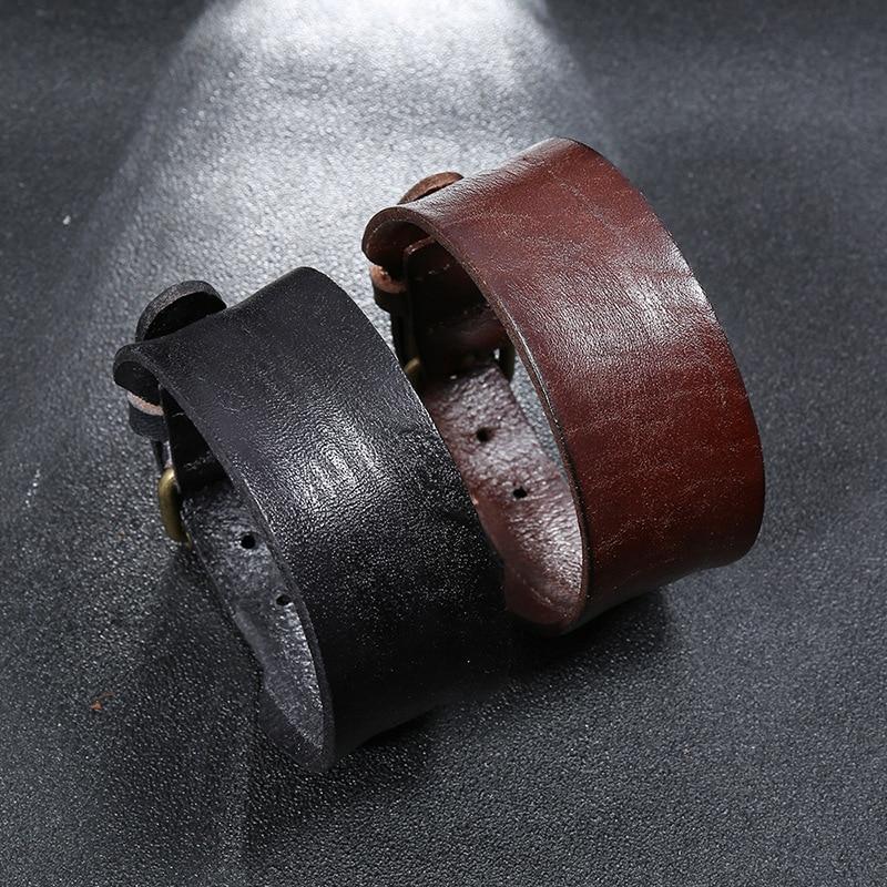 Modyle Vintage Retro Brown Leather Bracelet for Men Punk Style Adjustable Wristband Bangles Male Trendy Jewelry