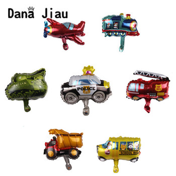 MINI Cartoon Car Balloons Fire Truck Train Foil Balloon Police plane Globos Children Gifts Birthday Party Decorations Kids balls image