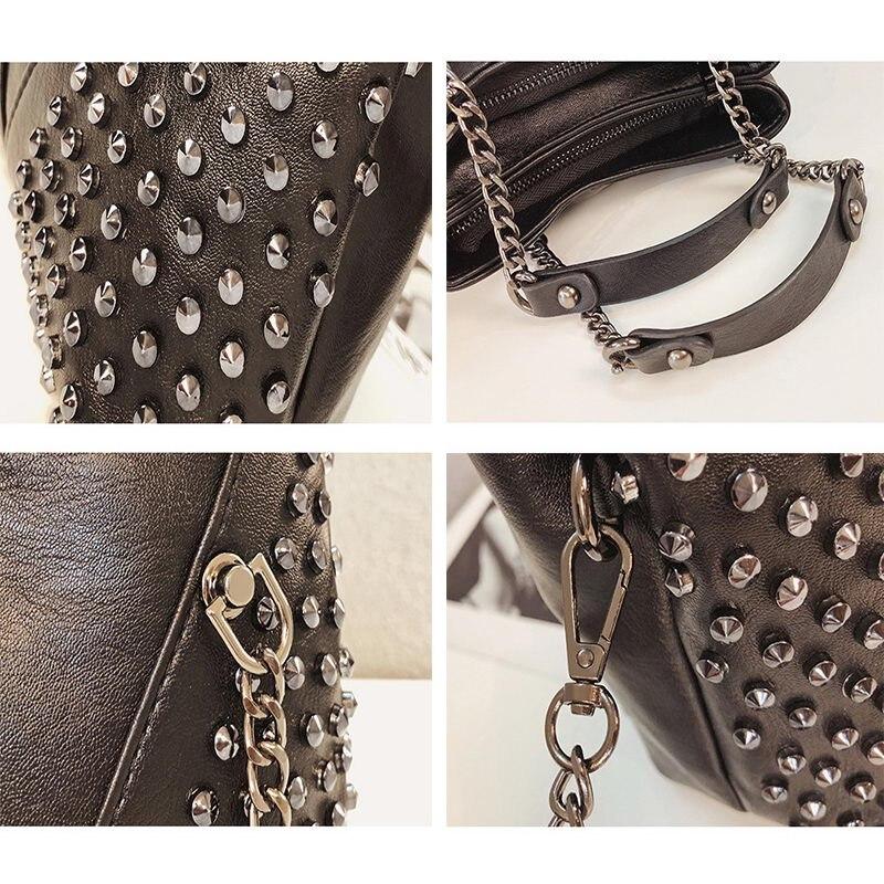 Image 4 - DIINOVIVO Rock Rivet Shoulder Bag Female Small Bags For Women Handbags Punk Handbag Leather Women Messenger Bags Purses WHDV1214Shoulder Bags   -