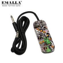 EMALLA Tattoo Foot Fedal Stainless Steel Tattoo Foot Pedal Switch With 5.9Ft Silicon Soft Wire Power Cord Tattoo Power Supply wholesale price stainless steel foot switch pedal tattoo clip cord for tattoo mahcine tattoo power supply free shipping