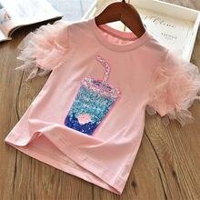 3 4 5 6 7 8 anos meninas camiseta verão manga curta malha topos crianças roupas de algodão suco padrão impressão rosa camiseta