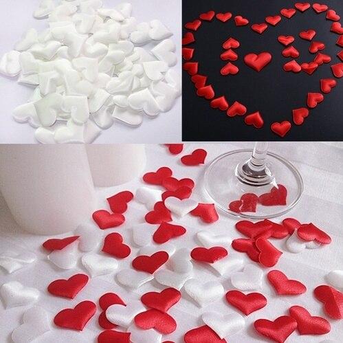 100 искусственное свадебное украшение, украшение в виде лепестков в форме сердца, свадебное украшение для стола, украшение на День святого Ва...