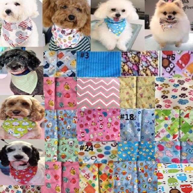 60 יח\חבילה חדש עיצוב לערבב 60 צבעים מתכוונן חדש כלב כלבלב מחמד בנדנות 100% כותנה לחיות מחמד עניבת גודל S M y510