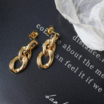 Amaiyllis 18K Gold Retro Hoop Earrings Gold Chain Exaggerated Earrings Stud For Women Summer Jewelry Gift недорого