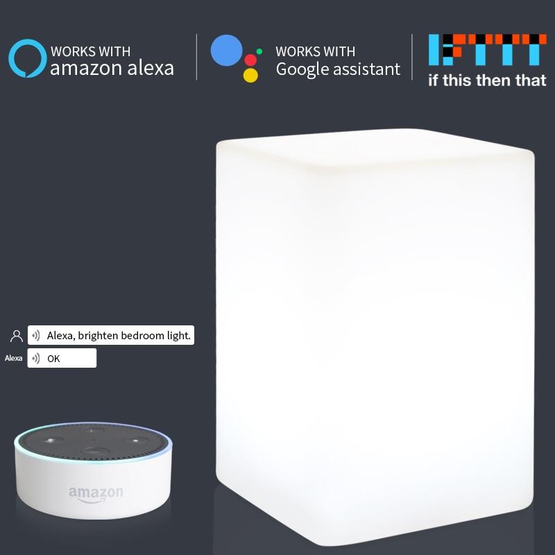 Multi Função de Luz Noturna Inteligente Controle de Voz Controle Remoto Temporizador Configuração Inicial do Google IFTTT Controle LED Night Iluminação