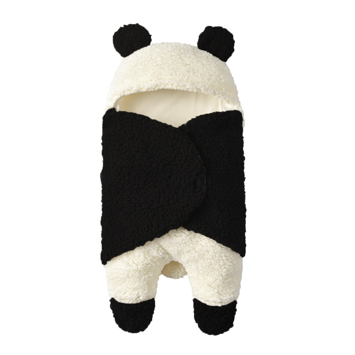 Newborn Baby Sleeping Bag Hooded Plush Swaddle Blanket Towel Wrap Fleece Swaddle Warm Receiving Blanket Sleep Bag Sack Stroller