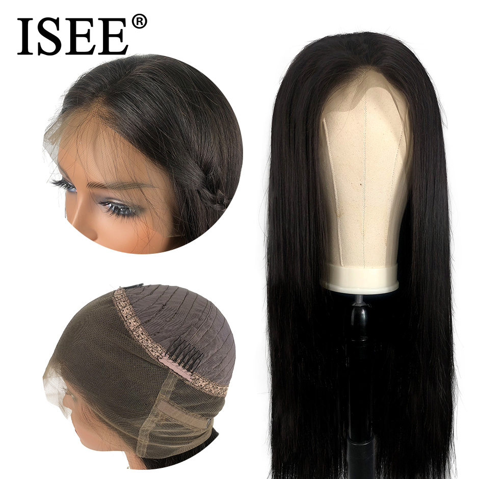ISEE HAIR 360 Lace Frontal Wig 150% Density Straight Lace Frontal Human Hair Wigs Remy Brazilian Human Hair Wigs For Black Women-in Human Hair Lace Wigs from Hair Extensions & Wigs