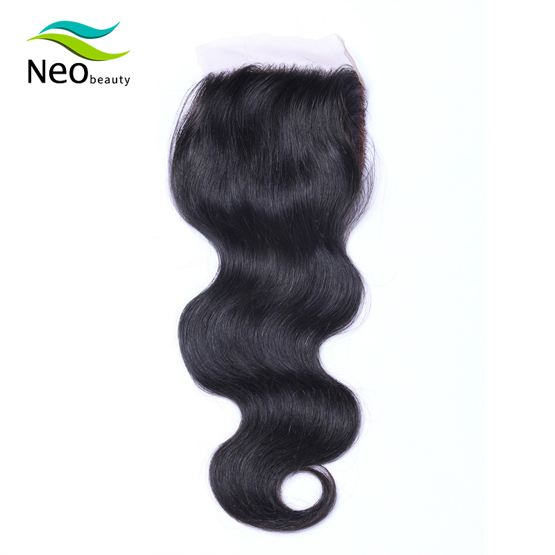 Brazilian 4x4 Silk Base Body Wave Remy Human Hair Lace Closure French Lace Natural Color Can Be Dyed Hair