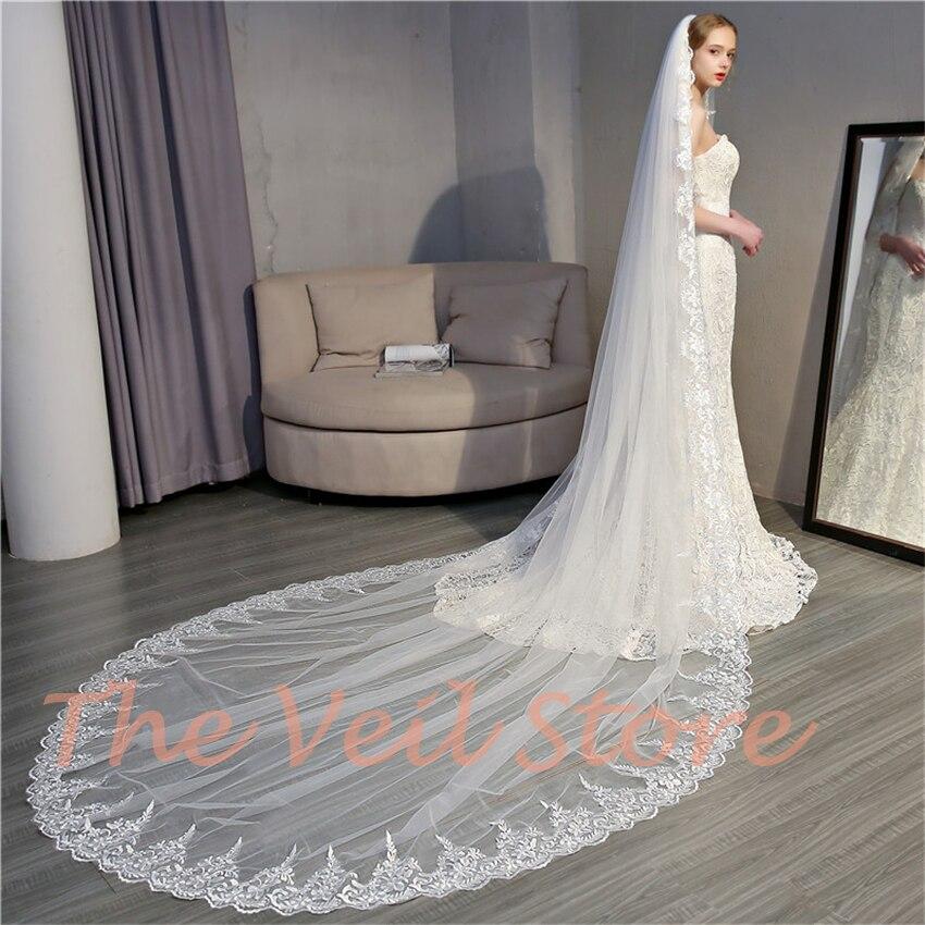 Cathedral Long Appliques Trim Bridal Wedding Veils Luxury Ivory Tulle Veil Velos De Novia Voile De Mariee Mariage Longue 3m 5m