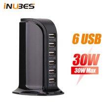 30w estação de carregamento usb desktop para iphone samsung carregador usb torre universal 6 portas mesa portátil carregador viagem mesa hub