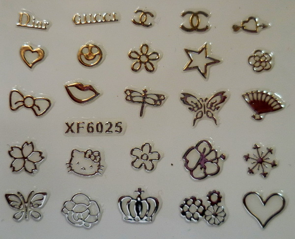XF 3D Gold Plated Nail Sticker 72-on Nail Polish After Does Not Fade XF6025