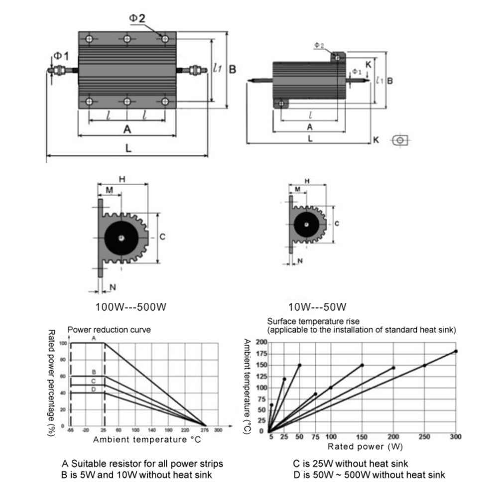 50W Power Geoxideerd vergulde Aluminium Shell Draadgewonden Weerstand weerstand 20/22/30/33/50 /100/1K Ohm 5% Precisie DIY
