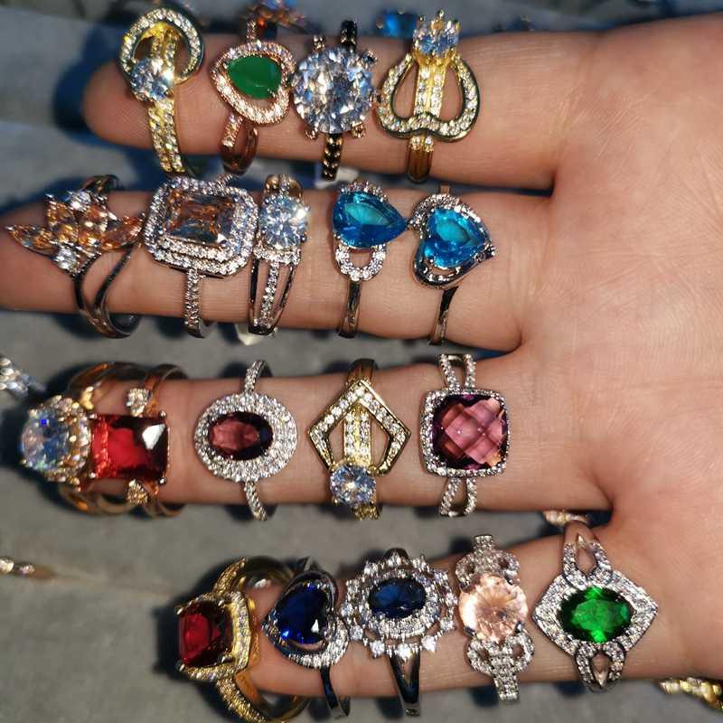 Anillos de dedo al por mayor deslumbrante AAA Zirconia Anillos de Compromiso de boda para mujeres y hombres regalo de moda anillo de joyería de lujo