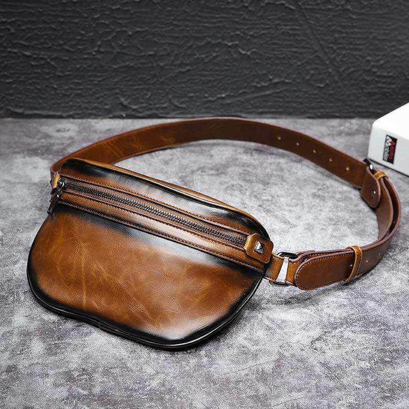 Brand Crazy Horse Leather Casual Sling Chest Pack Men Crossbody Shoulder Bag Mens Cowhide Messenger