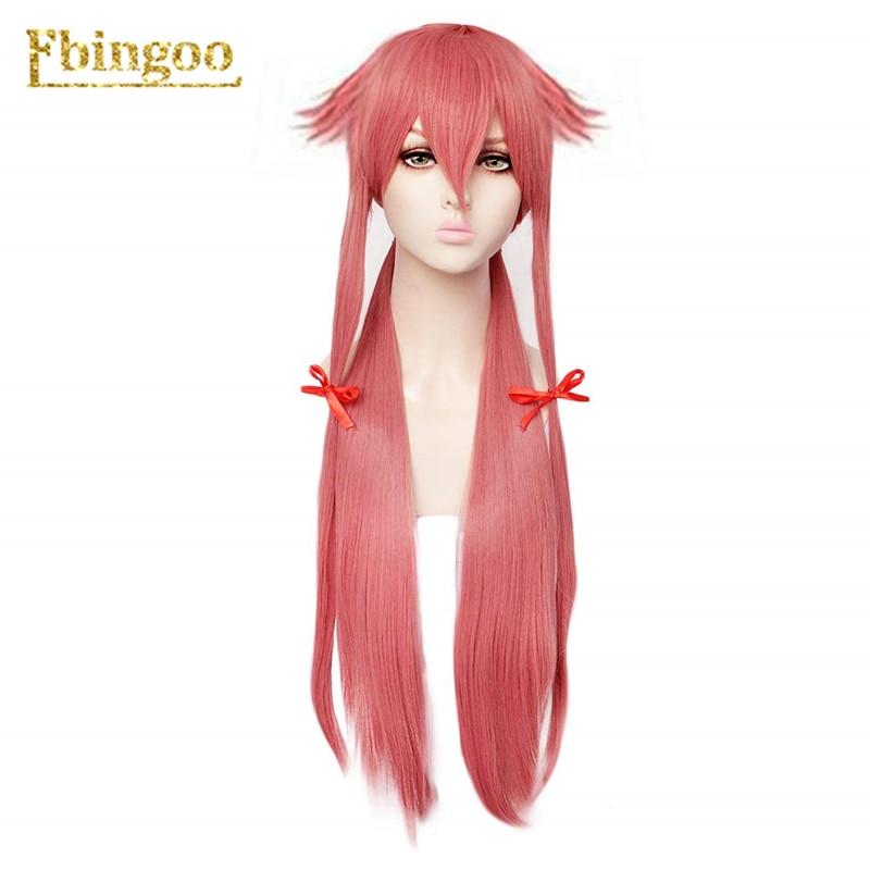 Ebingoo, новый дневник будущего Mirai Nikki Gasai Yuno, синтетический парик для косплея, длинный прямой розовый парик для Хэллоуина