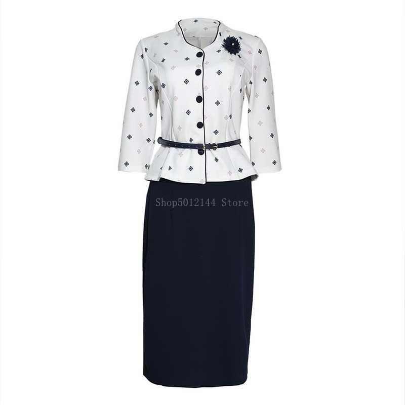 Jesień zima dwuczęściowy zestaw spódnica afrykańskie ubrania kobiety biuro spódnica damska garnitur stojak z kołnierzykiem, z nadrukiem Top i spódnica ołówkowa zestaw Party