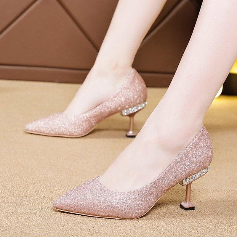Crystal Heels Pumps Women Wedding Shoes Bridal Silver Pointed Toe Bling High Heels Ladies Sequined Cloth Boat Shoes Black 8518N 4