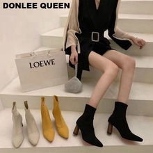 цена Fashion Brand Sock Boots Women Knitting Stretch Boots High Heel Women Shoes Female Ankle Boots Slip On Short Boots zapatos mujer онлайн в 2017 году