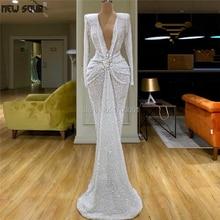 Белые вечерние платья с блестками и бисером для Дубая, арабское платье, новинка, Длинное Пышное Платье с v-образным вырезом, женское платье для выпускного вечера