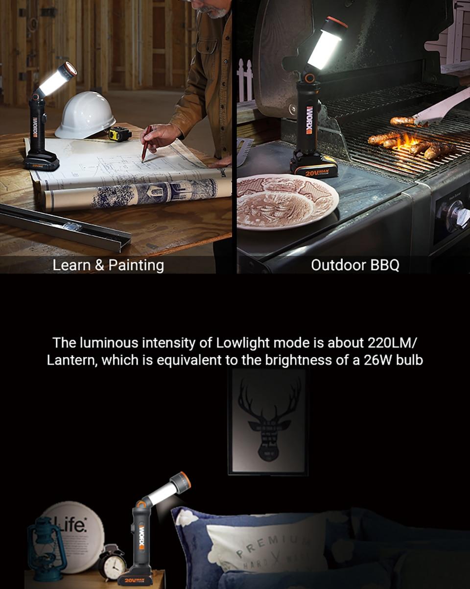 WORX 20V LED Light Portable Lanterns WX027 Rechargeable Flashlights LED light Desk Lamp Outdoor lamps for SOS flashlight Lantern 13