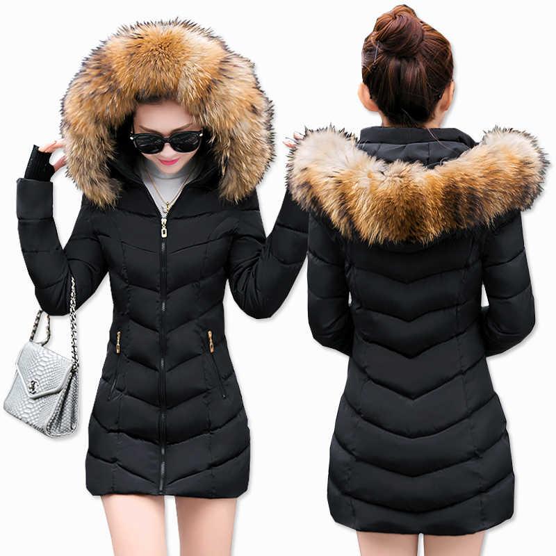 Модная зимняя женская куртка с большим меховым поясом, с капюшоном, толстая пуховая парка, Женская длинная куртка, пальто, тонкая теплая зимняя верхняя одежда, новинка 2019