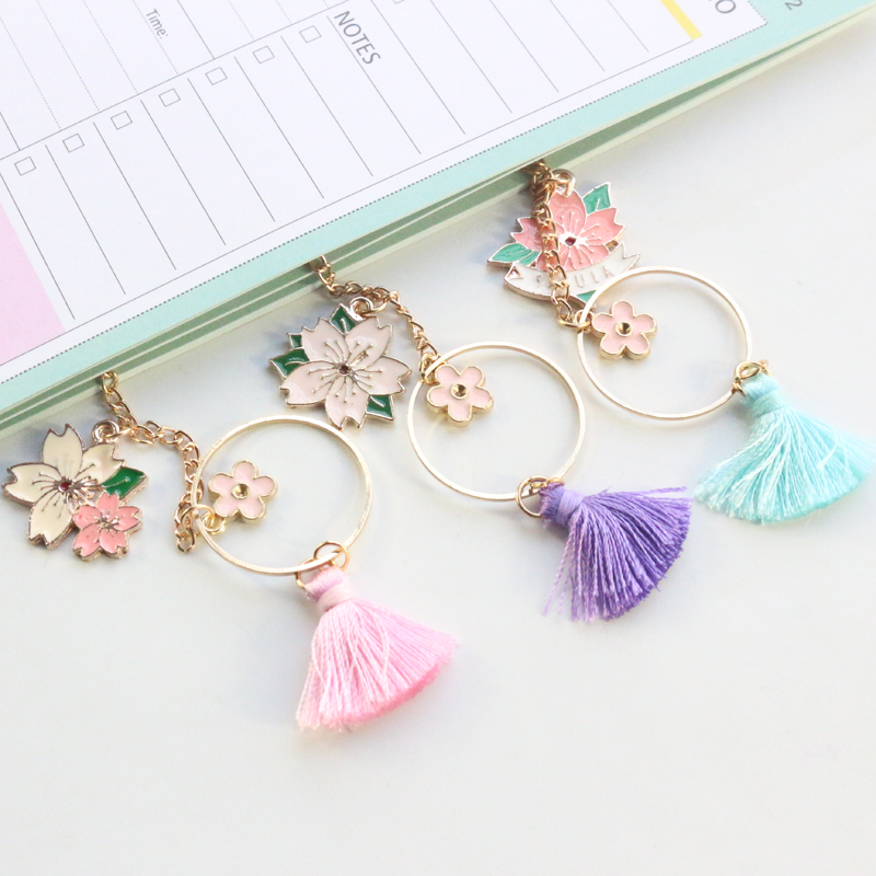 Domikee Cute Kawaii Korean Alloy Cherry Bloom Office School Bookmarks Student Metal Tassel Paper Bookmark Stationery Supplies