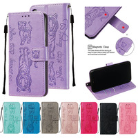 Embossing cat tiger Stand Flip PU Leather Case For LG K40 K12plus K8 Stylo4 Phone Cover for LG Stylo 5 Q Stylus 4 Aristo2 fundas