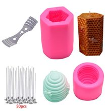 3D Bee Honeycomb Candle Molds with 50Pcs Low Smoke Candle Wicks, Hexagon Beehive Silicone Molds for Making Beeswax Candle