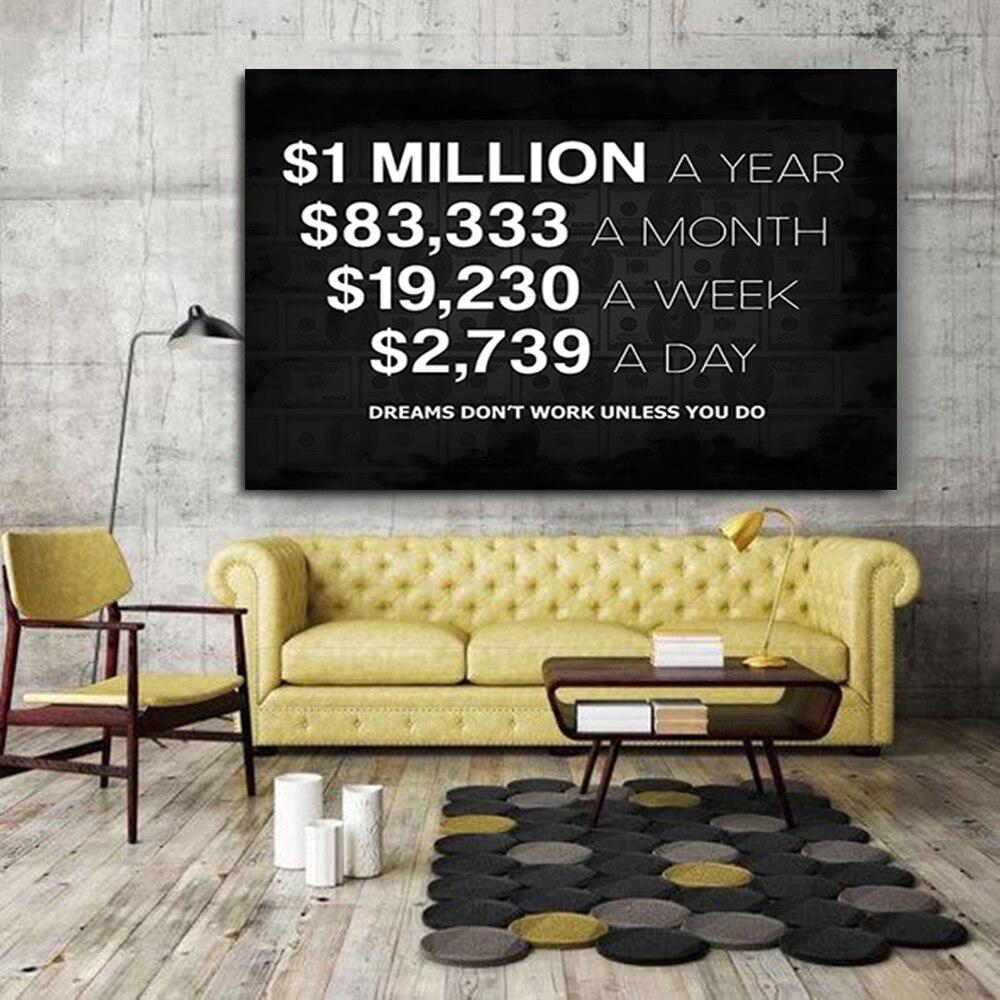Million-dollar rêves toile peinture Dollar américain mur Art photo imprime argent nordique affiche pour chambre salon décor