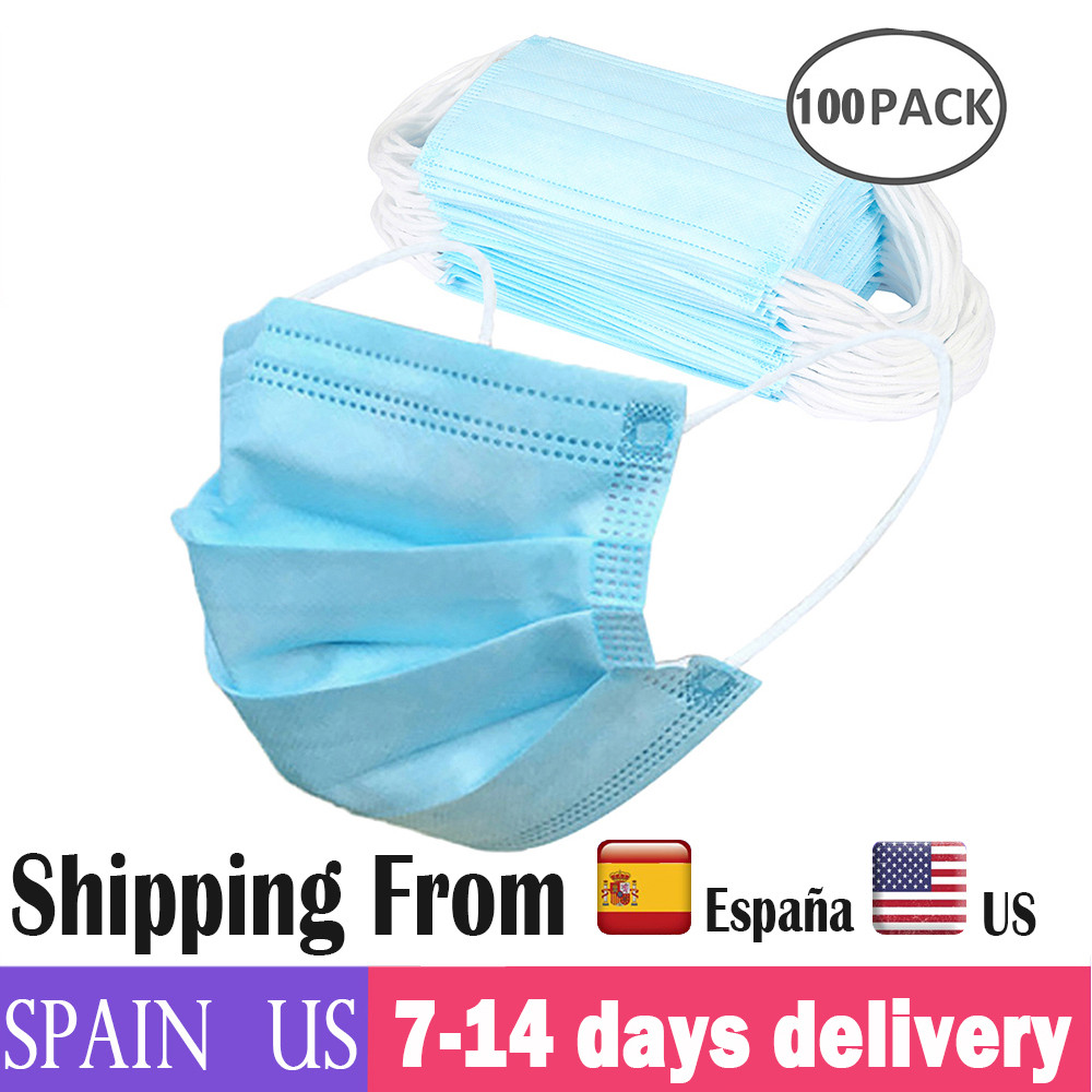 100pcs Face Mask 3 Layer Non-woven Dust Face Mask Thickened Disposable Mouth Cover Mask PM2.5 Dust Filter Mascarillas Masque