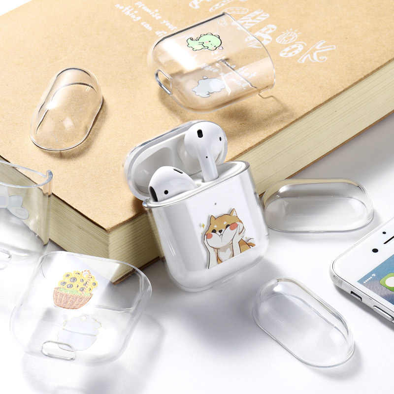 Airpods ためアップルケースカバー高級漫画の猫塗装ハードケース透明エアポッド保護カバー Airpod 1 2