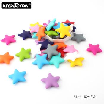 1 3 5 sztuk Food Grade Stars kulki silikonowe BPA darmowe koraliki dla ząbkującego dziecka silikonowe gryzaki gryzak z zawieszką akcesoria do zabawek tanie i dobre opinie Keep Grow 5Pieces Lot Lateksu Nitrosamine darmo Ftalanów BPA za darmo Star Silicone Beads 3-12 miesięcy 5pcs Star Silicone Beads