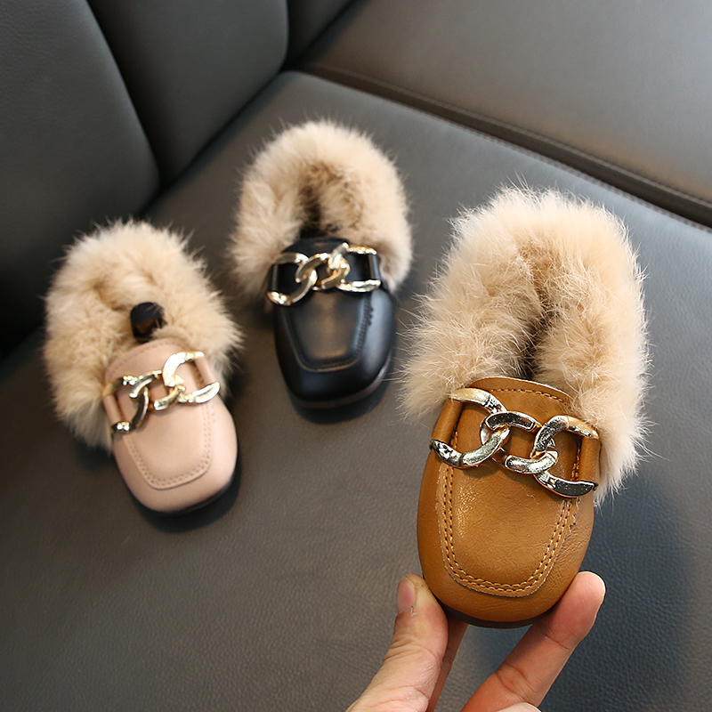 Flat shoes girls 2020 fashion winter warm toddler shoes kids children's rabbit plush fur princess square head leather shoe girl