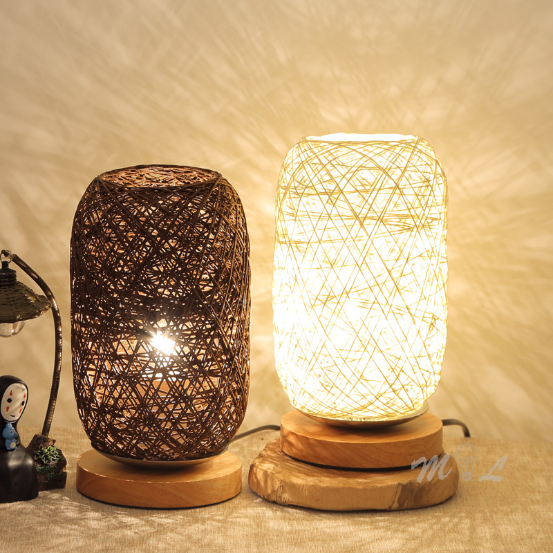 Modern Rattan Lamp Table Chinese Style Beside Lamp Wood Base Living Room Lamp Home Deco Study Table Lamps Makeup Table Light E27