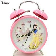 Дисней розовый снег белый будильник часы металл колокольчик освещение немой девушка будильник часы часы