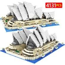 4131 шт знаменитая городская архитектура китайский Zhuhai опера дом модель строительные блоки кирпичи развивающие мини блоки игрушки для детей