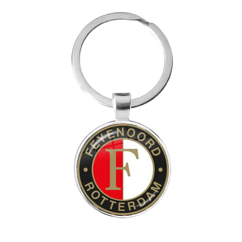 Feyenoord Rotterdam 25mm Glass Cabochon Key Chain Football Leagues Logo Soccer Club Keyrings Keychain For Women Men Fans Gift