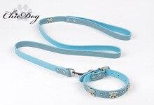 Dog Leash Collar Set Skull Leather  Perro Chihuahua Leashes