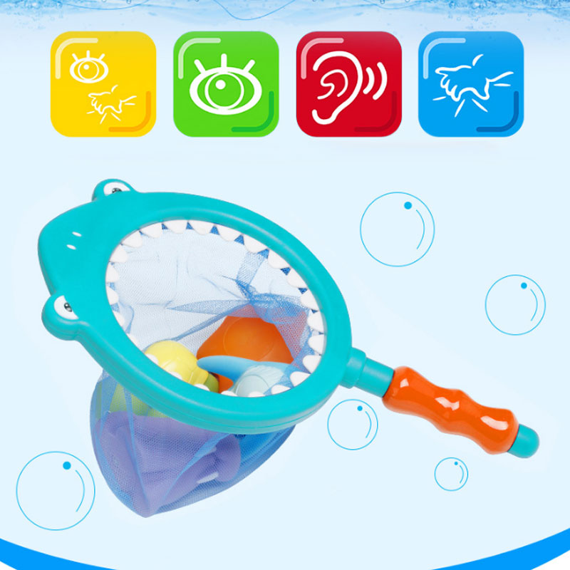 High Quality Children Kids Swimming Toys Set Pick Up Fish Games Color Change Water Bath Fishing Net Bag