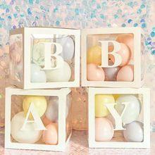 Boîtes à cadeaux transparentes avec lettres, boîtes décoratives pour fête prénatale anniversaire enfant, mariage, décorations pour événements