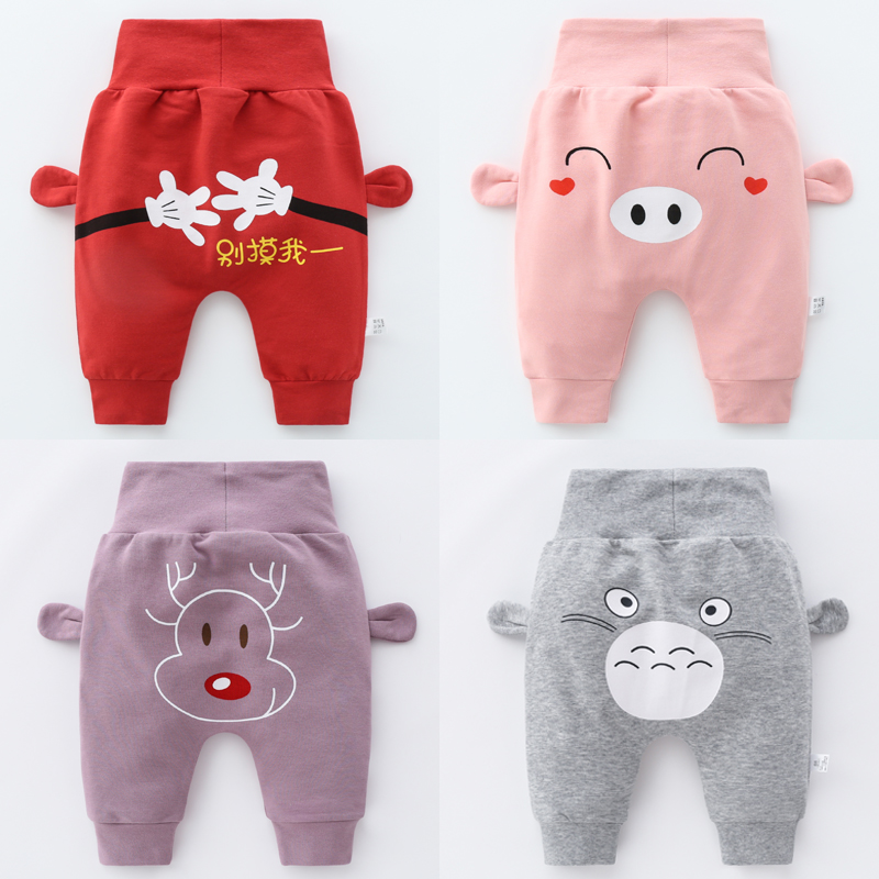 OLEKID 2021 Baby Boys Harem Pants Cotton Cartoon High Waist Protect Belly Newborn Baby Pants 0-3 Years Infant Baby Girl Trousers