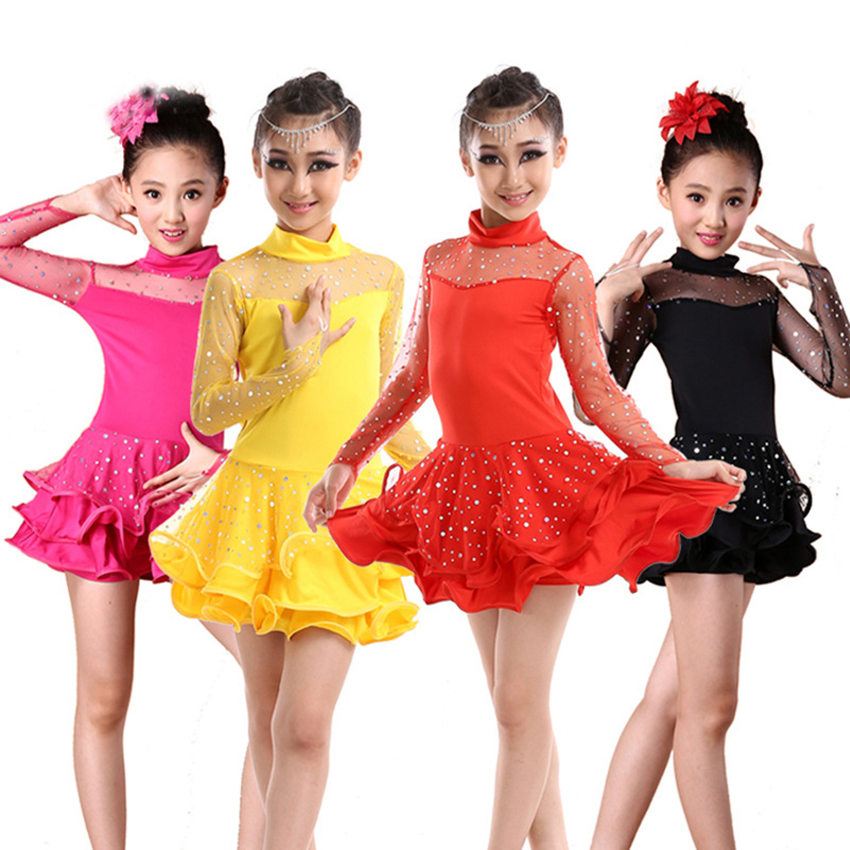 Latin Dance Kids Costume Competition Dress for Dancing Salsa/Ballroom/Tango/Cha Adult Baby Girl Stage Performance Vestido Female(China)