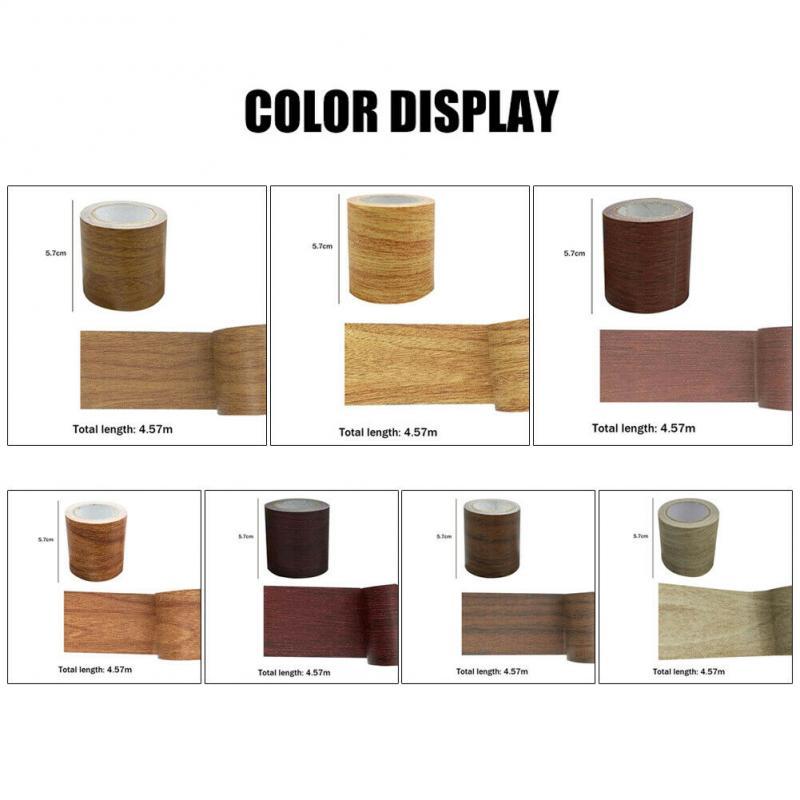 1Roll Artificial Wood Grain High Adhesive Tape Realistic Woodgrain Repair Adhensive Duct Tape For Home Furniture Care