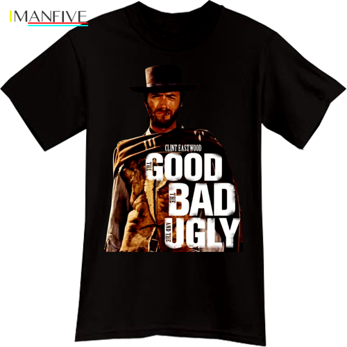 Clint Eastwood The Good The Bad The Ugly Western Cowboy Movie Black T-Shirt Tee image