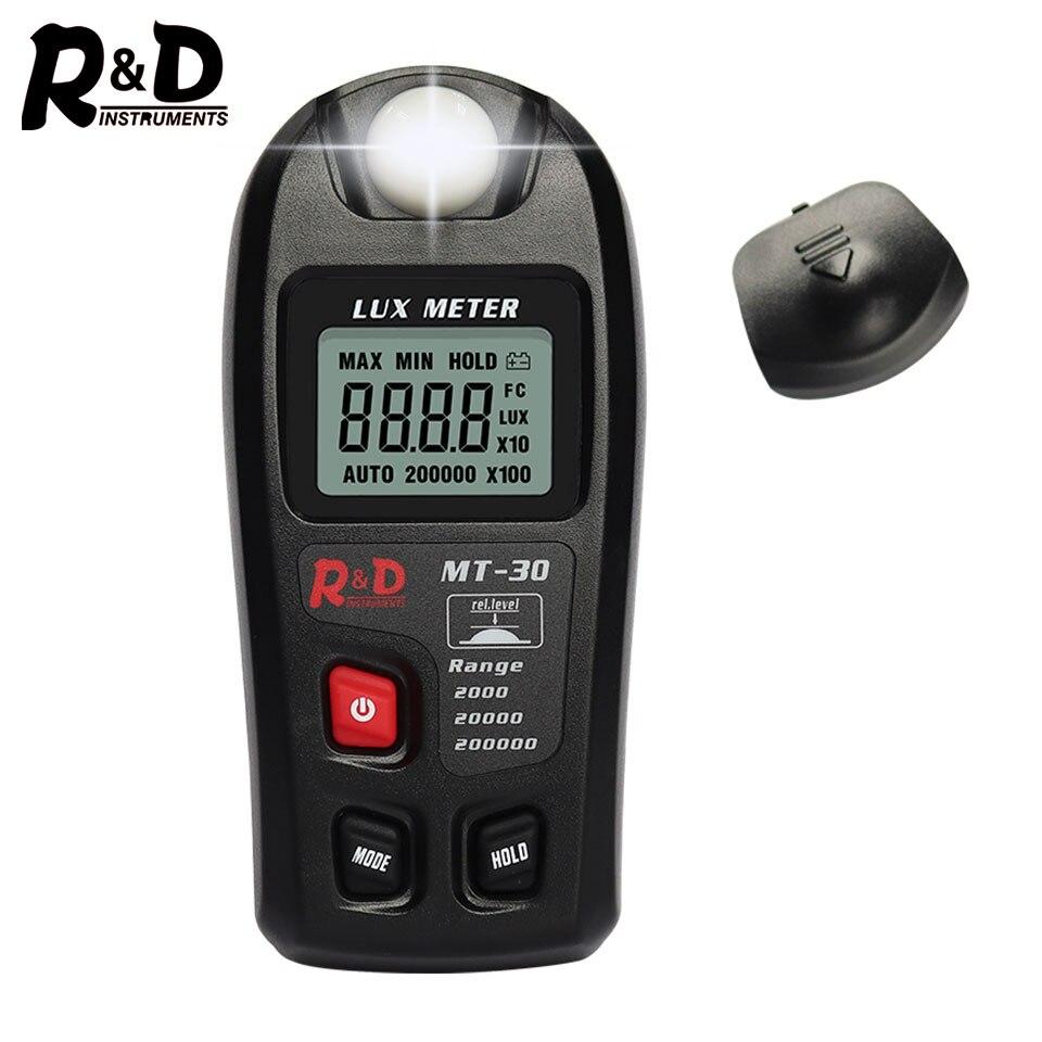 R&D MT30 Photometer Tester Enviromental Testing Lux Meter 0~200,000lux Range Light Meter Pocket Design Illuminometer Lux/fc