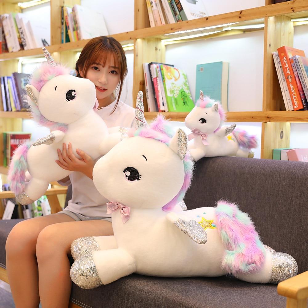 65/80cm Giant Kawaii White Unicorn Plush Toys Soft Stuffed Unicornio Soft Pillow Dolls Lovely Animal Horse Gift for Kids Girls