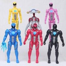 13CM 5Pcs/set Christmas Gifts Power Ranger Model Action Figures Boy Toys 6pcs/set Dolls Led Light